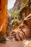 Escadaria cinzelada da rocha entre os penhascos altos, conduzindo ao lugar alto do sacrifício em PETRA foto de stock