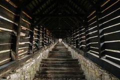 Escadaria coberta em SighiÈ™oara Fotografia de Stock Royalty Free