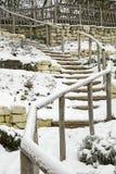 Escadaria coberta pela neve imagem de stock royalty free