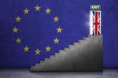 Escadaria com porta do brexit Imagem de Stock