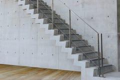 Escadaria concreta com muro de cimento e o assoalho de madeira fotografia de stock