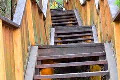 A escadaria de madeira vai acima Foto de Stock Royalty Free
