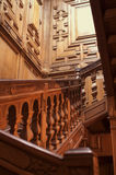 Escadaria de madeira vermelha Fotografia de Stock Royalty Free