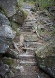 Escadaria de pedra nas montanhas de Catskill fotografia de stock