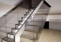 Escadaria de vidro Imagens de Stock Royalty Free