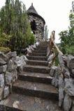 Escadaria do cimento com trilhos Fotografia de Stock
