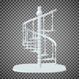 Escadaria espiral branca, escadas 3d em um fundo transparente ilustração stock