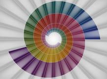 Escadaria espiral, túnel colorido brilhante à luz Imagem de Stock Royalty Free