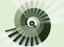 Escadaria espiral, túnel verde à luz Fotografia de Stock Royalty Free
