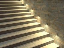 Escadaria moderna com etapas retroiluminadas Iluminação macia da noite ilustração 3D Foto de Stock Royalty Free