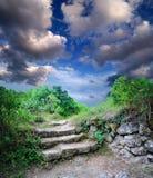 Escadaria nas ruínas da cidade antiga da caverna Imagens de Stock Royalty Free