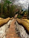 Escadaria que conduz em torno do santuário budista fotografia de stock royalty free