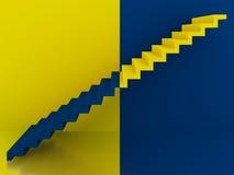 Escadas amarelas e azuis no interior, 3d Fotografia de Stock Royalty Free