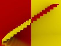 Escadas amarelas e vermelhas no interior, 3d Foto de Stock Royalty Free