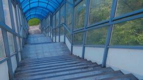 Escadas ao cruzamento pedestre elevado do interior Passagem segura através da estrada video estoque