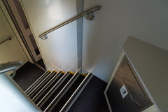 Escadas ao trem do ônibus de dois andares em Rússia Imagem de Stock Royalty Free