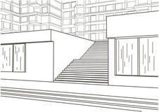Escadas arquitetónicas da rua do esboço Imagem de Stock