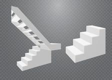 Escadas brancas, escadarias 3d Grupo, isolado no fundo transparente Fotografia de Stock Royalty Free