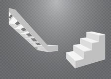 Escadas brancas, escadarias 3d Grupo, isolado no fundo transparente Fotos de Stock Royalty Free