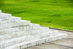 Escadas brancas na frente do campo de grama Imagem de Stock