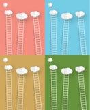 Escadas com ilustração do vetor das nuvens ilustração royalty free