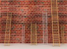 Escadas contra a parede de tijolo velha Imagem de Stock Royalty Free