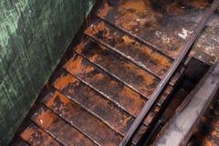 Escadas da casa em que havia um fogo imagem de stock royalty free