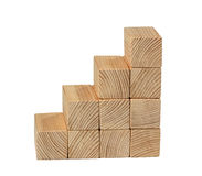 Escadas da opinião lateral dos blocos de madeira naturais da cor Foto de Stock Royalty Free