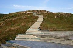 Escadas das madeiras à parte superior da montanha Fotos de Stock Royalty Free