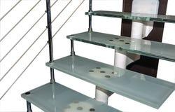 Escadas de aço do trilho imagem de stock