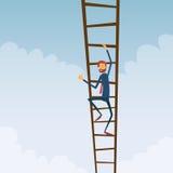 Escadas de Climb Up Ladder do homem de negócios, conceito Foto de Stock Royalty Free