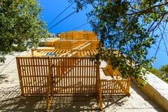 Escadas de fogo amarelas em uma construção em San Francisco foto de stock royalty free