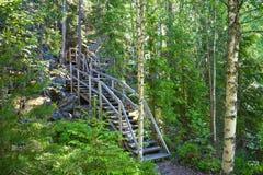 Escadas de madeira ao pico de montanha imagem de stock royalty free