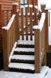 Escadas de madeira cobertas com a neve Imagem de Stock