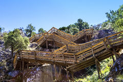 Escadas de madeira em torno da montanha Imagem de Stock