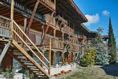Escadas de madeira na natividade do monastério de Rozhen da mãe do deus, Bulgária fotos de stock royalty free