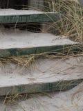Escadas de madeira nas dunas com grama foto de stock royalty free