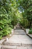 Escadas de pedra da reserva arqueológico histórica nacional de Madara fotos de stock