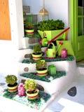 Escadas decoradas nos mykonos Fotos de Stock