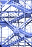 Escadas do escritório no azul imagem de stock