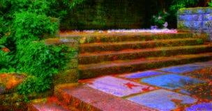Escadas do jardim Fotos de Stock