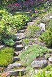Escadas do jardim de rocha Foto de Stock Royalty Free