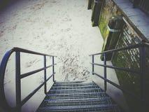 Escadas do metal de Balustade Imagens de Stock