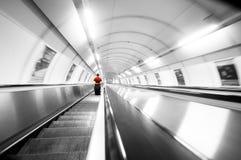 Escadas do metro. Movimento Imagens de Stock