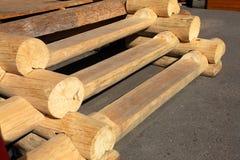 Escadas do registros de madeira Imagens de Stock Royalty Free