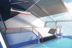 Escadas e janelas azuis Imagens de Stock Royalty Free