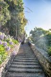 Escadas e jardim de pedra bonitos foto de stock royalty free