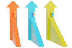 Escadas e portas na seta, ilustração 3D Fotos de Stock Royalty Free