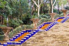 Escadas espanholas em Montjuic Barcelona Catalonia fotos de stock