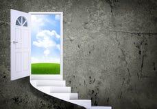 Escadas espirais e portas mágicas ilustração do vetor